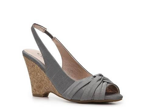 Silver bridesmaid shoes for Brian and Jennie's wedding in June. These will go nicely with the navy blue dress.- CL by Laundry Candy Girl Wedge - DSW