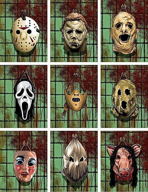Horror masks for Jason Voorhees, Michael Myers, Leatherface, Scream Mask, Hannibal Lecter, original Jason Voorhees(pre hockey mask), Valentines Day killer, Strangers, Pig Mask from Saw.