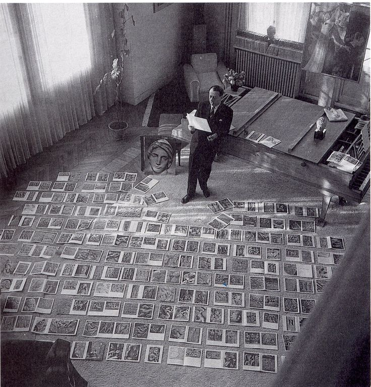 André Malraux, with the illustrations for Le Musée Imaginaire, 1947 (a…