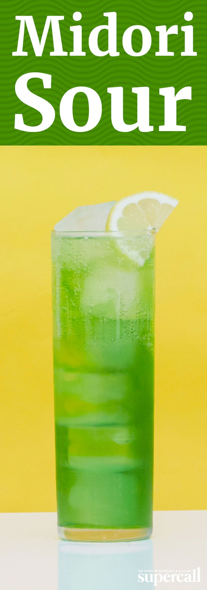 Made with neon green Midori (a Japanese liqueur flavored with muskmelon—a honeydew-esque fruit), vodka, citrus juices and soda water, it's as fun to look at as it is to sip.  INGREDIENTS 1OZMIDORI 1OZVODKA 0.5OZLEMON JUICE 0.5OZLIME JUICE SODA WATER MARASCHINO CHERRY
