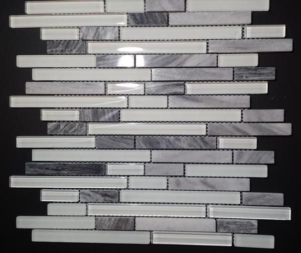 Gris Romano stone with white polished & Matt Glass tile Kitchen Backsplash (Z28)