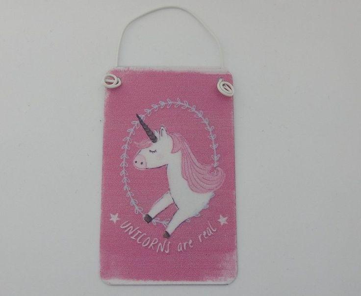 "Mini Unicorn Sign Mini ""Unicorns Are Real"" Plaque Pink Distressed Unicorn Sign #JonesHomeGift #Childrens"