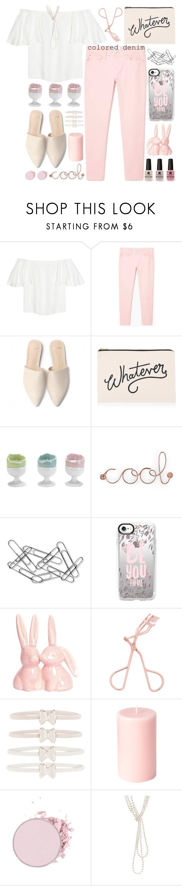 """""""Spring Trend:Colored Denim"""" by grozdana-v ❤ liked on Polyvore featuring Valentino, MANGO, ALPHABET BAGS, Victoria's Secret, Umbra, Home Decorators Collection, Casetify, Accessorize, Chanel and coloredjeans"""