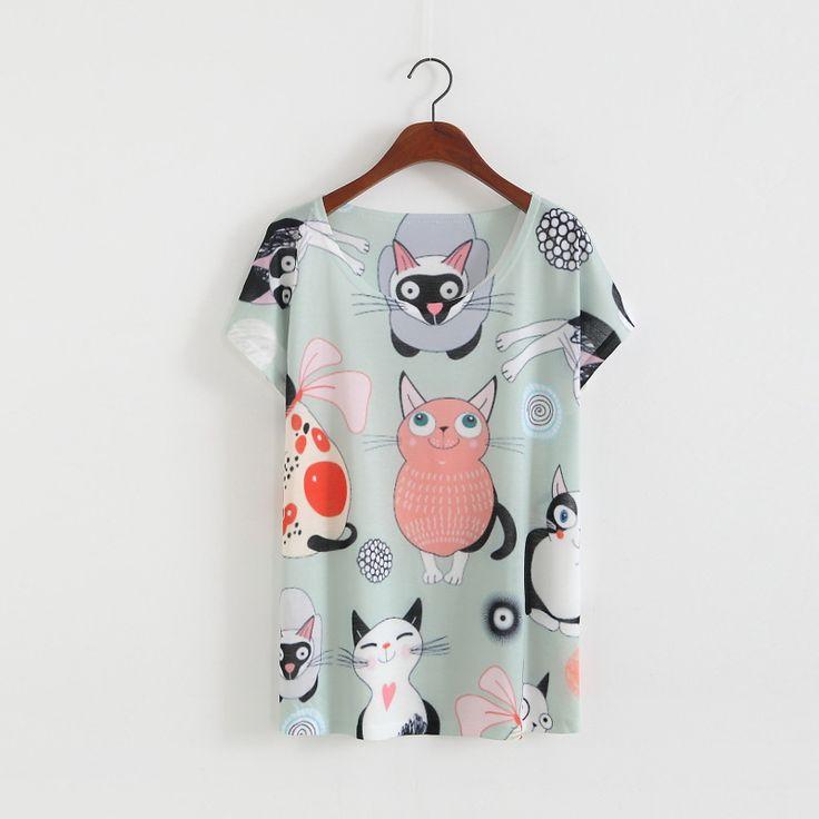 Aliexpress.com: Comprar ASTFSC Nuevo Llega 3d Japonés Totoro Kawaii T Shirt de Impresión mujeres O cuello de la Manga Del Batwing de la Moda Camisetas Del Gato 3D Panda Verano Tops de kawaii t shirt fiable proveedores en Shop2789099 Store