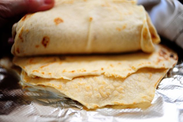 Homemade Flour Tortillas (Pioneer Woman). {This is the recipe my mother-in-love uses. You have to start about 1.5 hours in advance to allow the dough to rest, but they are easy to make and DELICIOUS. I made a batch last night and couldn't stop eating them plain}.