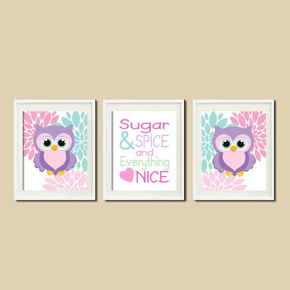 OWL NURSERY Decor Artwork Violet Aqua Floral by LovelyFaceDesigns,