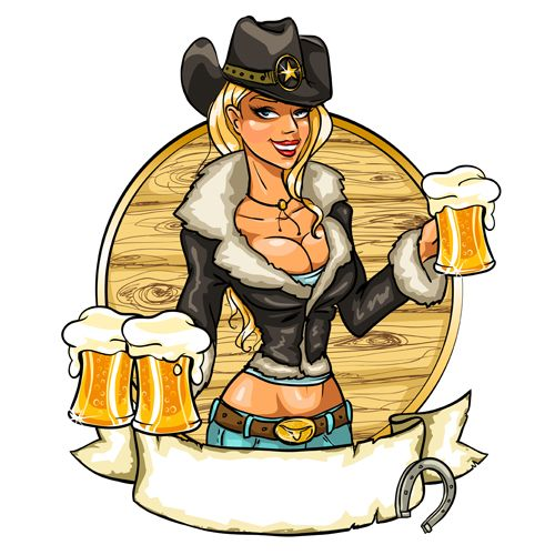 Cowboy girl with vintage labels vector 01