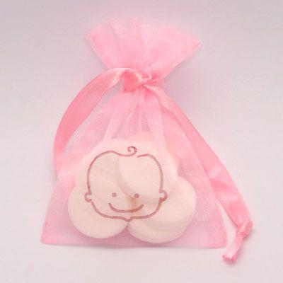 Organzazakjes babyhoofdje meisje roze. Ook leverbaar met babyhoofdje jongen op www.organzastore.nl