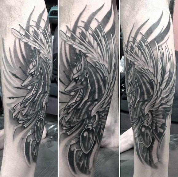 Feather Shaded Anubis Leg Tattoos For Men
