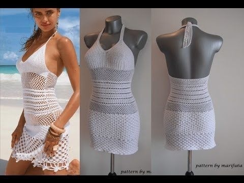 How to crochet summer dress free stitch pattern tutorial by marifu6a - YouTube