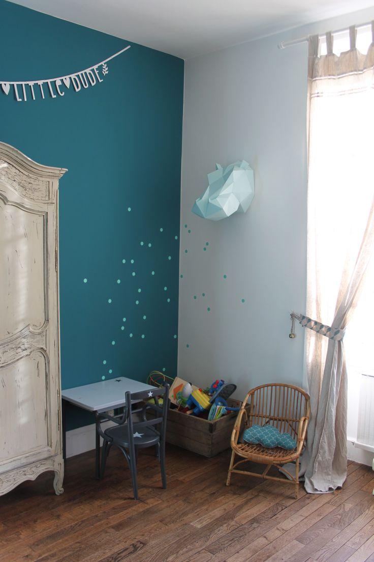 chambre enfant garçon vintage mur bleu canard