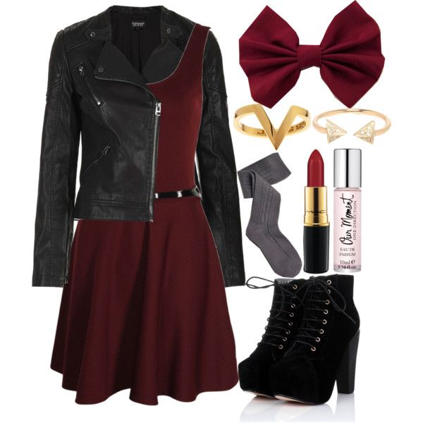 A fashion look from November 2013 featuring scoop neck skater dress, faux leather biker jacket and cable knit knee high socks. Browse and shop related looks.