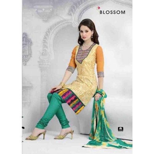 CREAM COTTON CHURIDAR SUIT Price - £34.00 #IndianDressesUK #FashionUK #DesignerDressesUK #ShopkundUK