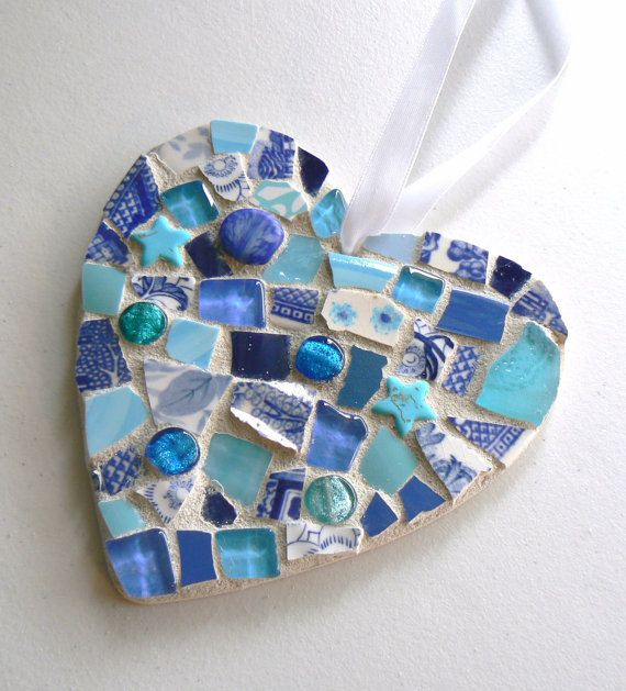 Blue China Mosaic Heart  Pique Assiette Christmas by PamelasPieces, $25.00