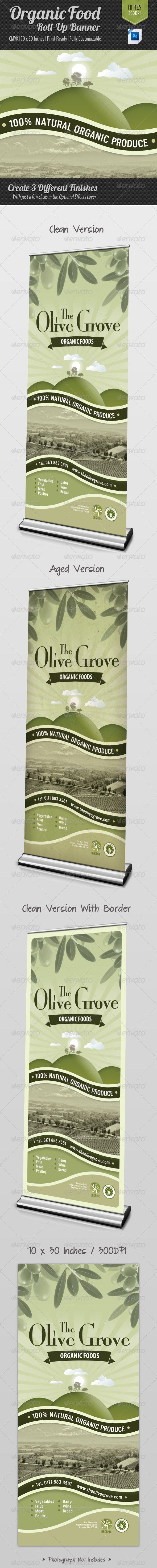 Organic Food Roll-Up Banner Signage #GraphicRiver Organic Food Roll-Up Banner / Signage Perfect For: Organic Food / Organic Produce Company What You Get: 1 x .PSD File 1 x .txt File The Detail: 70×30 Inches 300 DPI CMYK Print Ready with Bleed Guides Easy to edit with well Organized Layers Optional Effects Layers (For Aged Look & Border) The Fonts: The Design use 2 Fonts (Both Free): .ufonts /fonts/veriox-rg.html .fontpalace /font-details/Mona+Lisa+Solid+ITC+TT/ If You Buy? – You Like? –…