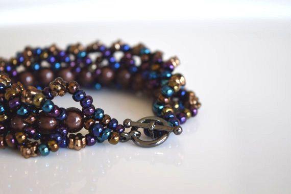 Bracelet tissé  Bracelet couleur bronze  par RoseCreationsBoutik