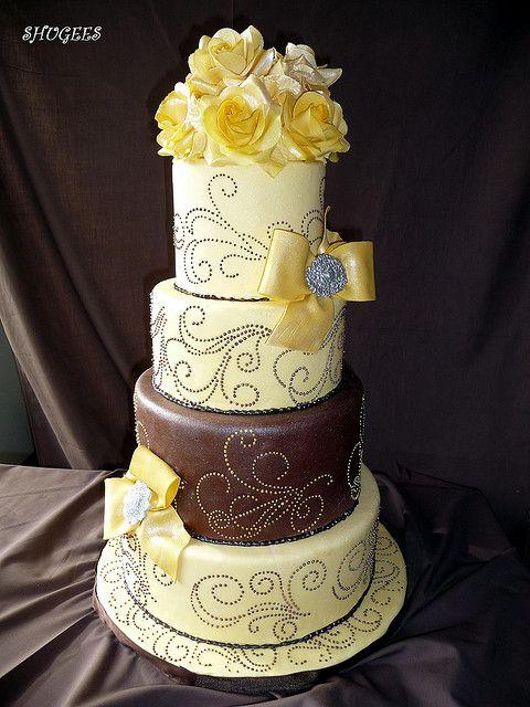 Yellow & Brown Cake... by Shugee's Custom Cakes & Cookies ♥, via Flickr