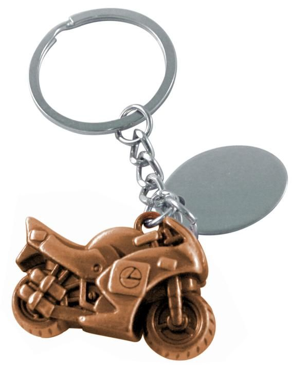 Personalised engraved copper sports motor bike keyring with gift pouch ref F12C