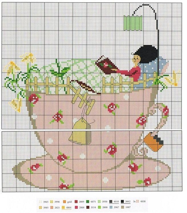0 point de croix femme lisant ds une tasse à café - cross stitch woman reading in a cup of coffee
