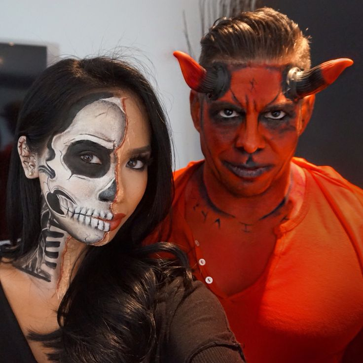 half skeleton and devil makeup done by instagramashleytiopoartistry wwwashleytiopoartistry - Where Can I Get Halloween Makeup Done