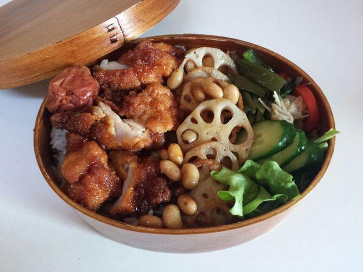 AKIKO's dish photo とりの唐揚げ甘酢ソースとレンコン大豆弁当でランナー大喜び!