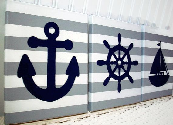 Decorate your nautical nursery or child's room with these nautical themed stretched canvas acrylic paintings. Colors shown are 3 gray and white striped canvases. Includes paintings of a sailboat, an anchor and a ships wheel or helm in navy. All hand painted. Please note, I can make backgrounds and the nautical items in many different colors. Just convo me if you want to know if certain colors are available.  **This listing is made to order for 3 - 8 x 10 or 3 - 11 x 14 acrylic hand-painted…