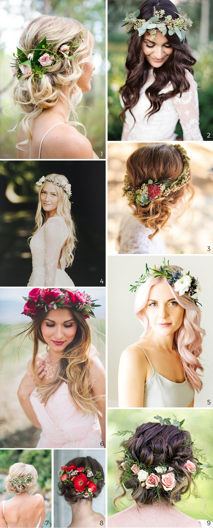 Wedding Hairstyles: 5 Unavoidable Trends. 9 photos of bridal hairstyles with flowers.