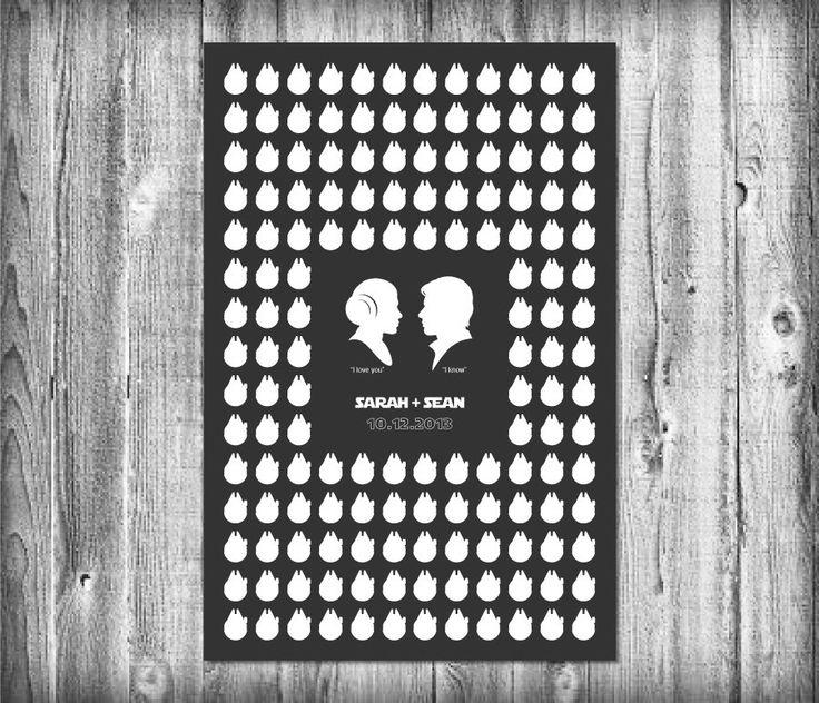 Star Wars Wedding Guest Poster with 150 Guest Millennium Falcons - Modern Wedding Guest Book Print (69.00 USD) by ShapeofLove