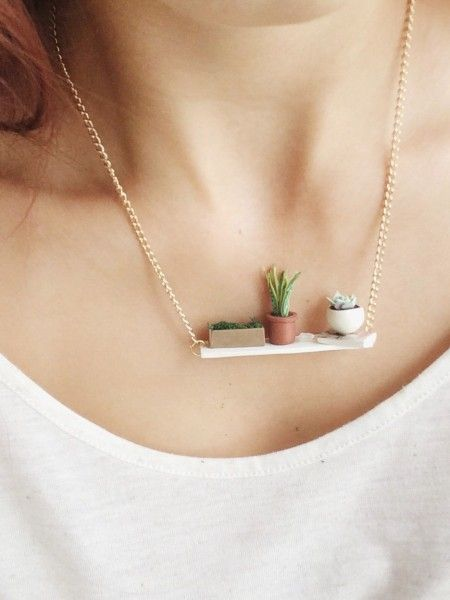 Windowsill garden necklace