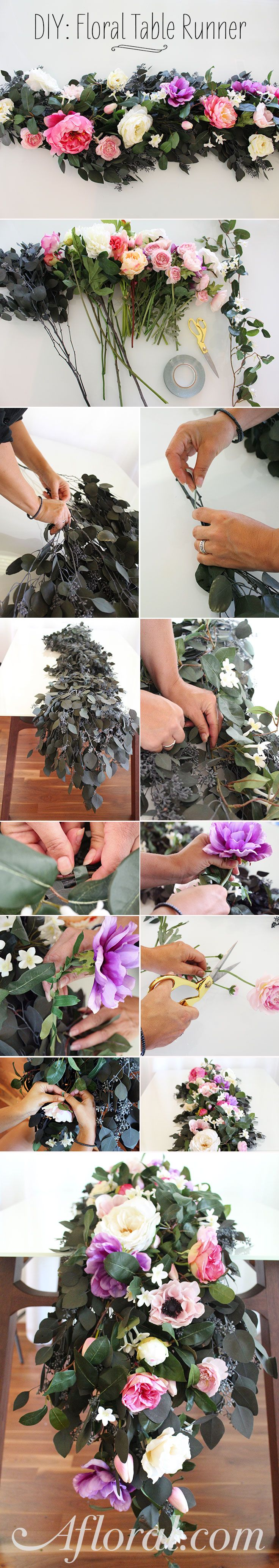 Make a gorgeous floral table runner for your wedding using faux flowers and preserved eucalyptus from afloral.com! #fauxflowers