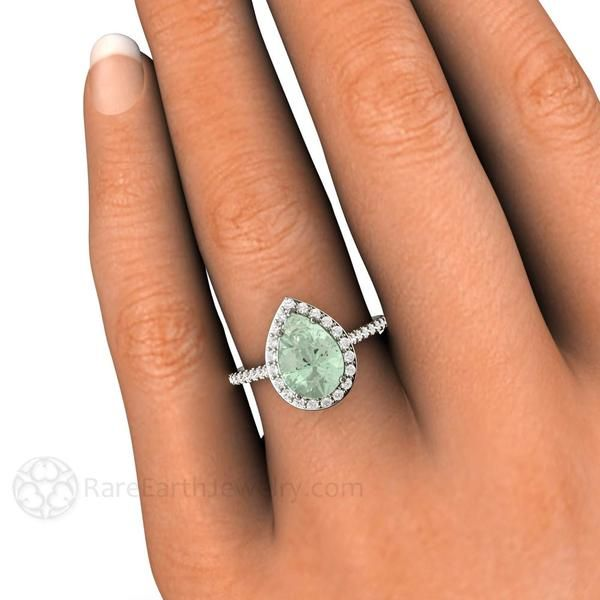 Rare Earth Jewelry - Green Amethyst Engagement Ring, 2ct Pear Cut. This Gemstone is surrounded by a Halo of Sparkling Diamonds. Engagement, Cocktail, Right Hand Ring 14K or 18K White Yellow or Rose Gold and Platinum
