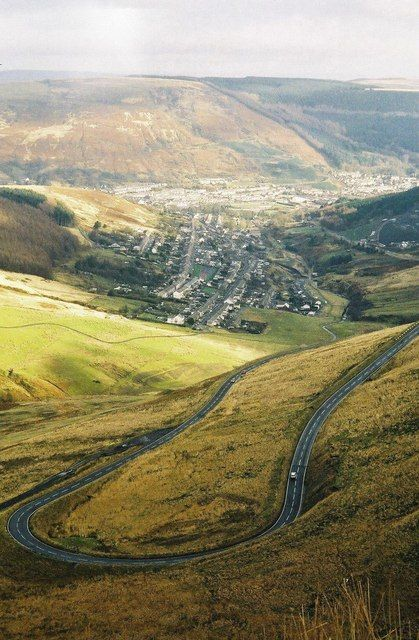 The A4061 Bwlch-y-Clawdd road was built in 1928. It connected the Rhondda to Nantymoel and Abergwynfi and made a lasting impression on the landscape to be featured in National Geographic.[129]