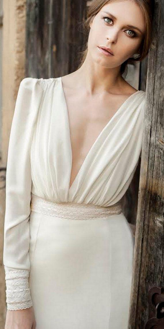 Long sleeve wedding dress chiffon wedding dress by Yasminelayani