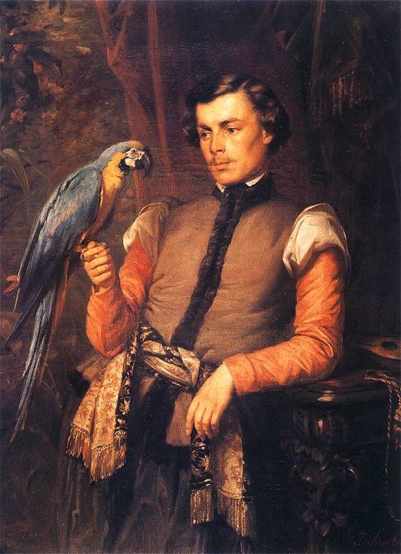 Jozef Simmler - Szlachcic z papugą. 1859