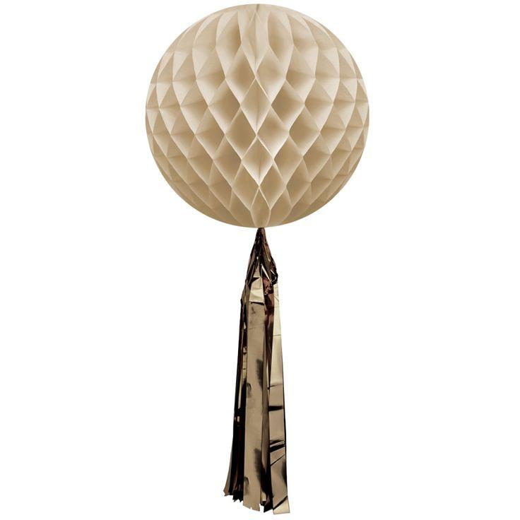 Χάρτινη μπάλα διακοσμητική χρυσή με χρυσή φούντα