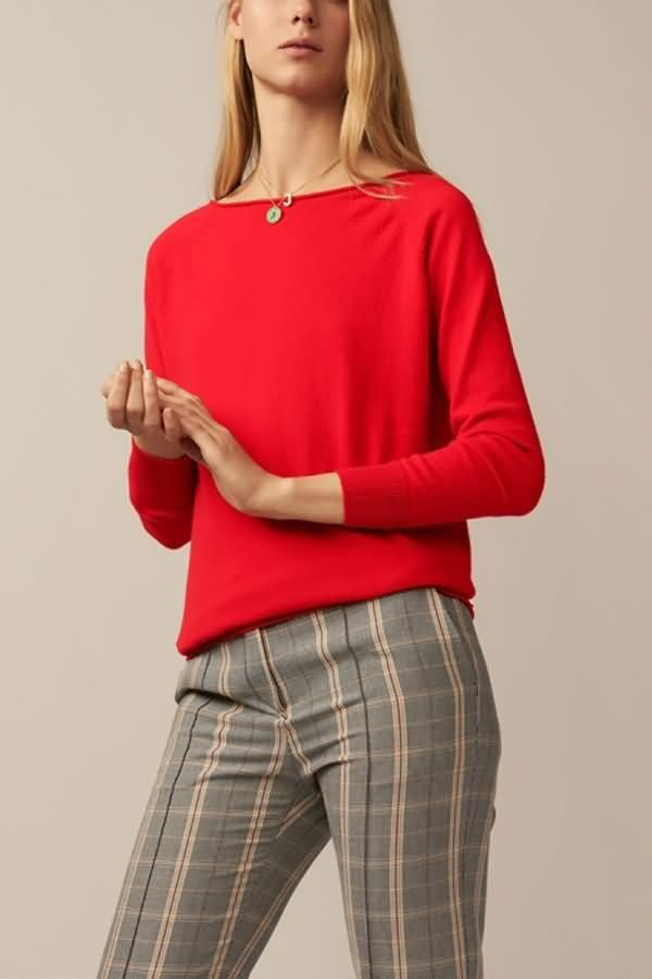 Women Red Long Sleeve Chain V Back Casual Plus Size Sweater - 3XL 1