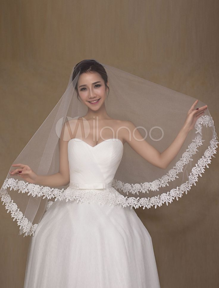 White One-Tier Wedding Veil Applique Semi-Sheer Lace Bridal Veil(150cm Length) – Wedding Accessories