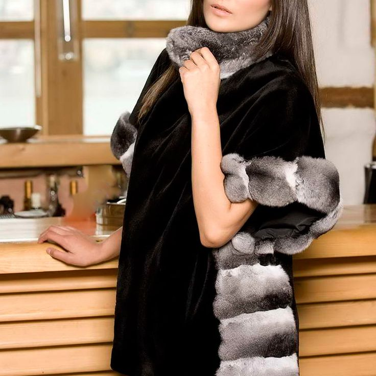 Early drinks in a stunning mink jacket with chinchilla trimmings.
