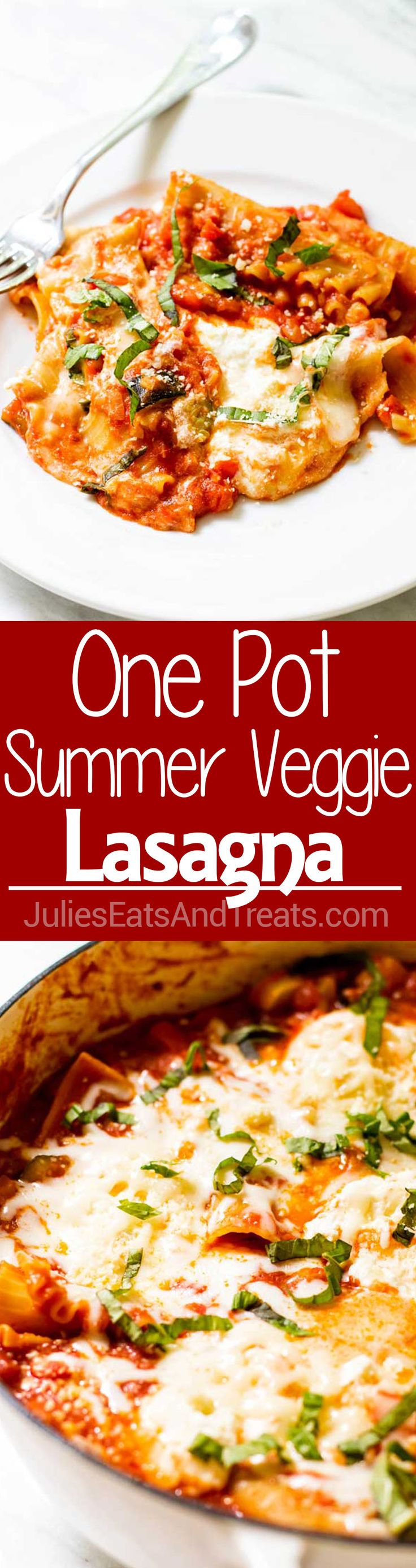 Summer Vegetable One Pot Lasagna ~ An easy one pan lasagna with summer fresh vegetables, creamy melted cheese and tender pasta. It's the summer version of a classic comfort food dish that takes just 40 minutes! Summer eating has never been so easy! via @julieseats