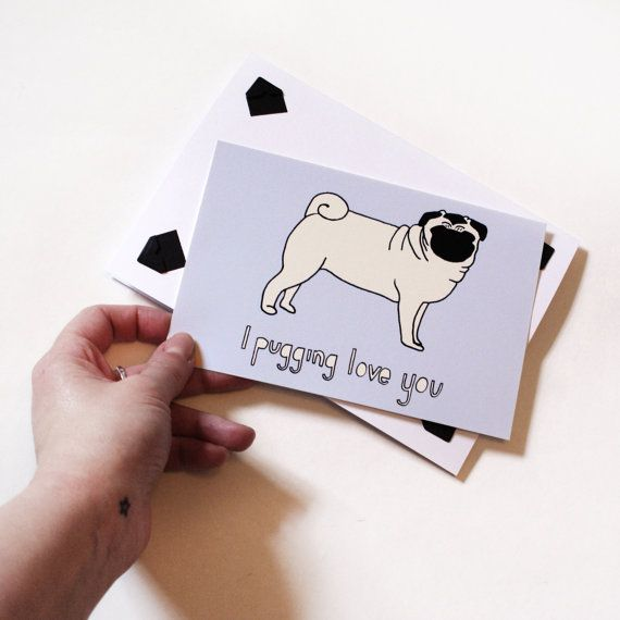 I Love You Pug Dog Keepsake Card and mini Print