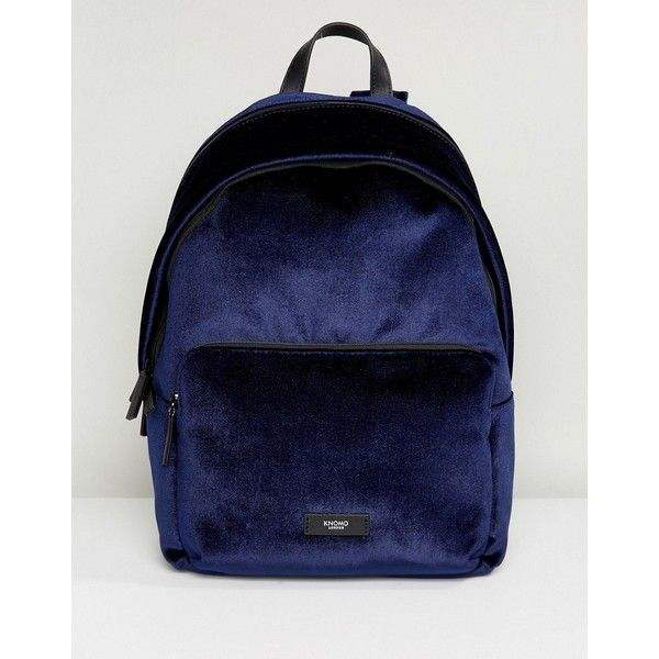 Knomo Paddington Bathurst Velvet Backpack Navy Velvet ($146) ❤ liked on Polyvore featuring bags, backpacks, blue, blue bag, zip top bag, navy rucksack, knomo backpack and knomo