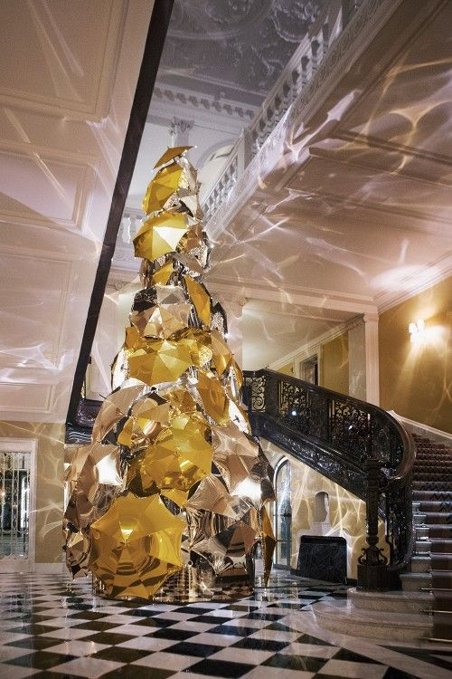 Burberry designs Claridge's Christmas tree | Harper's Bazaar.  We adore this unique Christmas tree - bespoke and luxurious in stunning gold and platinum colourways and designed by a fabulous #British designer - what's not to love?
