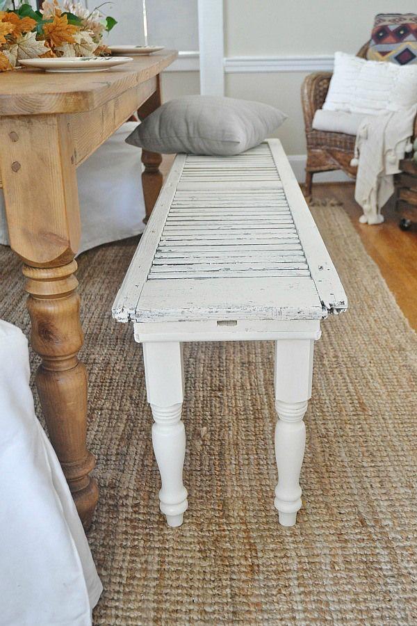 DIY rustic shutter bench - lizmarieblog.com