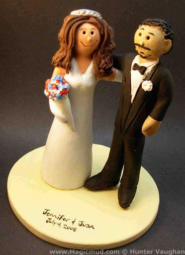 Mixed Race Wedding Cake Topper    Wedding Cake Topper for a DJ, custom created for you! Perfect for the marriage of a Disc Jockey Groom and his Bride!    $235   #magicmud   1 800 231 9814   www.magicmud.com