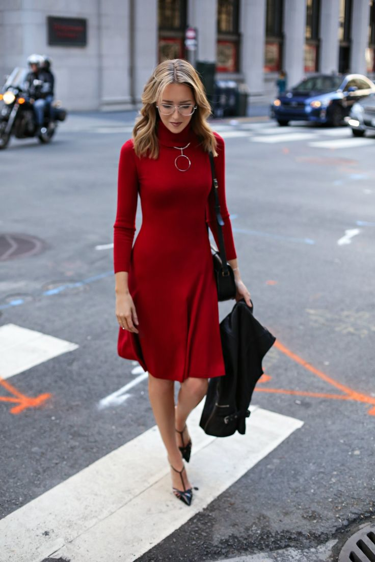 Red Turtleneck Dress | MEMORANDUM, formerly The Classy Cubicle