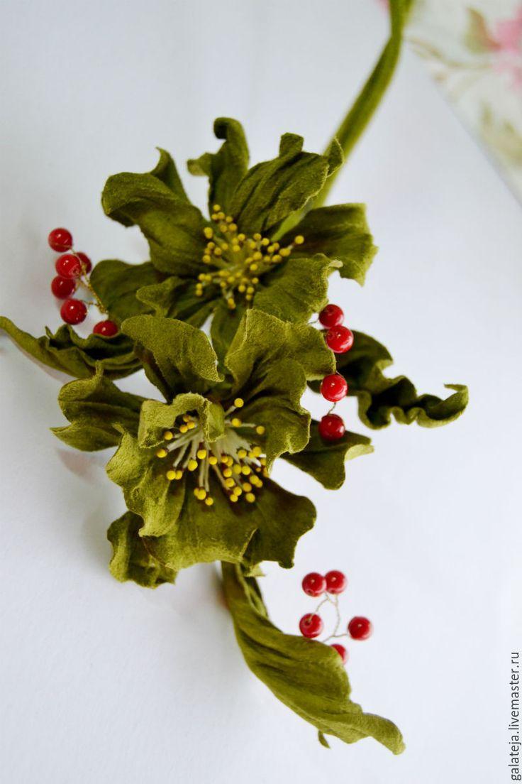 Купить Цветы из кожи Брошь Зеленые цветы - брошь из кожи купить, брошь из кожи