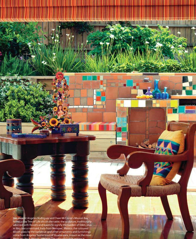 Spanish Style Terrace With Colorful Tile Pattern In The Background