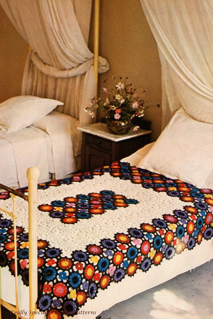 Afghan Granny Throw  Multi Flowers Bedspread Vintage Crochet Pattern PDF Digital Download. $3.00, via Etsy.