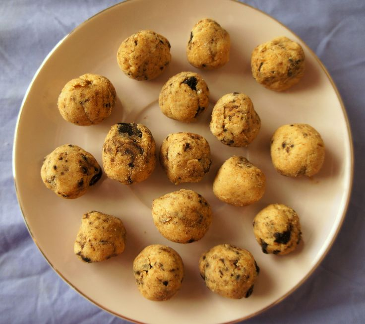 Cookie dough truffles with homemade carob chips (recipe testing for Ricki Heller)