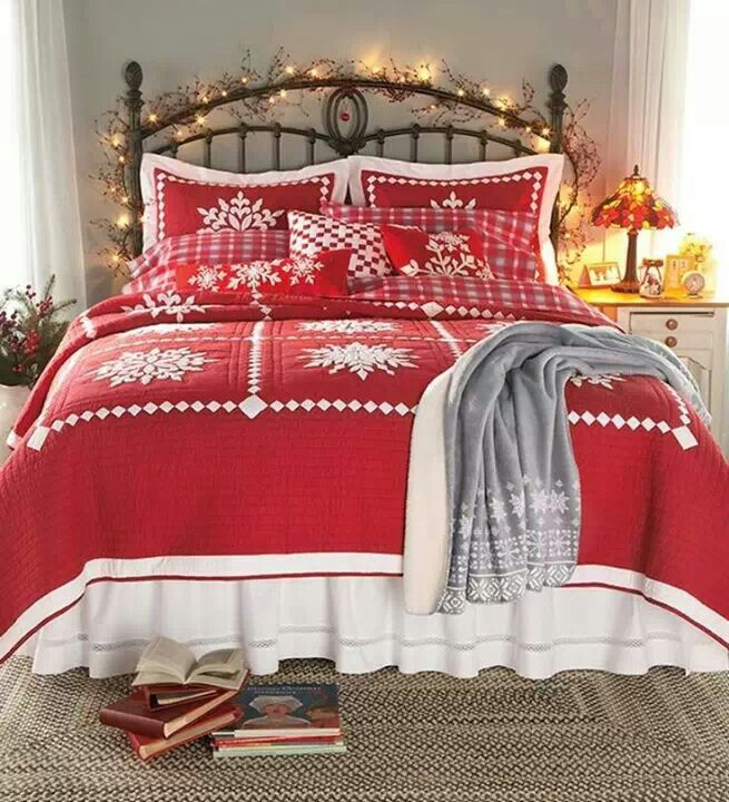 Crystal Snowflake Cotton Quilt, Shams And Pillow Christmas Lights On The  Headboard Complete This Lovely Christmas Bedroom Part 66